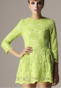 69a0f234263 Green Long Sleeve Floral Embroidered Back Zipper Dress Dress Fabulous  Dresses