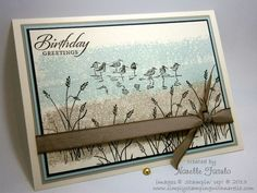I found this on stampinup.com I don't own this stamp set yet...(did you notice I said yet?) but it's on my list. I've seen so many nice cards made with this set. I really like the technique used for the background...tape with ink on it.