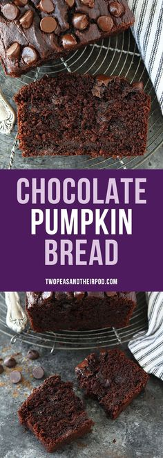 Chocolate Pumpkin Bread is rich and chocolaty with a hint of pumpkin and spices. It is the perfect quick bread recipe for fall. #pumpkinrecipes #chocolatebread
