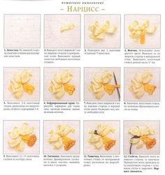 Daffodil instructions for Silk Ribbon Embroidery