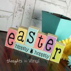 Mini Seasonal Blocks {EASTER}Only $10. You can make these reversible too...several layouts to pick from. - Thoughts in Vinyl