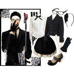 Kuroshitsuji Lolita- William T. Spears by meiki on Polyvore featuring Topshop, Odette, Burberry, LOTTA, black butler, lolita fashion, lolita and kuroshitsuji
