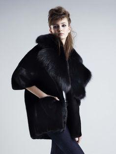 black mink & fox fur jacket