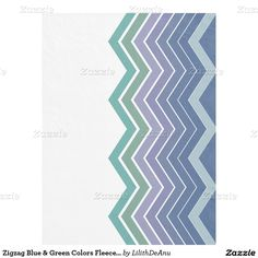 Zigzag Blue & Green Colors Fleece Blanket