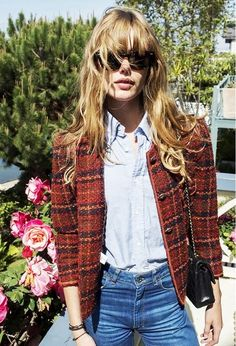 Brown check tweed jacket with jeans, chambray shirt, oversized sunnies and black over the shoulder bag