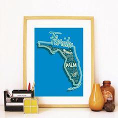 15.00$ - Florida State Print Florida Art Florida Poster Florida Print