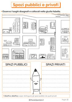 Public and Private Spaces: Educational Boards for the Pr .- Public and Private Spaces: Educational Boards for the Primary School Italian Language, Learning Italian, Earth Science, Primary School, Improve Yourself, Writing, Education, Gangsta Girl, Boards