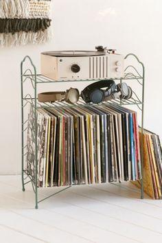 Vinyl Record Storage Shelf - turquoise.  not black or mint.