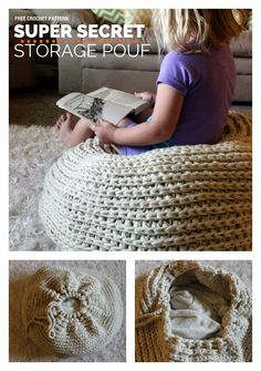 It is so nice to have lovely floor pouf in your room. Why buy a floor pouf when you can make this lovely crochet floor pouf? Crochet Pouf Pattern, Knitted Pouf, Crochet Motifs, Crochet Cushions, Crochet Pillow, Crochet Patterns, Diy Crochet Floor Pouf, Crochet Floor Cushion, Crochet Home