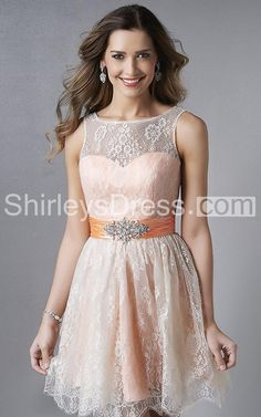 Noble Sleeveless Short Lace-embellished Dress with Illusion Neckline and Jeweled Band