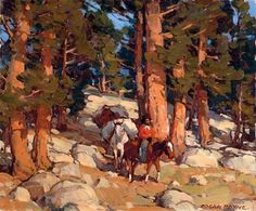 """""""Goldminer on Horseback,"""" Edgar Alwin Payne - This picture reminds me of everything around the area I was raised in - Sonora, CA. Gold Mining town Columbia, and Tuolumne County. Abstract Landscape, Landscape Paintings, Impressionist Paintings, Landscape Prints, Western Landscape, Mountain Landscape, Environment Painting, Environment Design, Edgar Payne"""