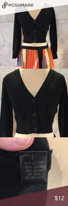 Mod cloth black cropped cardigan Large Modcloth black cropped cardigan size Large, only worn once, in excellent condition! ModCloth Sweaters Cardigans