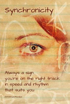 #Synchronicity. Always a sign you're on the right track in speed and rhythm that suits you... Thoughtsnlife.com