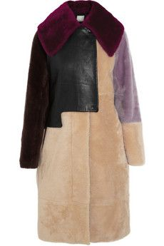 3.1 Phillip Lim Patchwork shearling and leather coat | NET-A-PORTER
