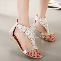 Bohemia Gold and Beading Design Women's Sandals