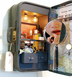 """Suitcase Medicine chest ~ I want my master bedroom / bath decorated in """"travel"""" stuff. How cool is this?"""