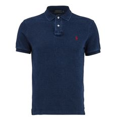 Polo Ralph Lauren Men's Slim Fit Polo Shirt - Dark Indigo ($69) ❤ liked on Polyvore featuring men's fashion, men's clothing, men's shirts, men's polos, blue, mens short sleeve polo shirts, mens tailored shirts, mens short sleeve shirts, mens slim fit shirts and mens slim shirts