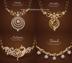 Latest designer diamond pendants for black beads mangalsutra from Sri Krishna Jewelers will surely steal your heart. These diamond black beads are perfect Gold Temple Jewellery, Fancy Jewellery, Gold Jewellery Design, Diamond Jewellery, Gold Necklace Simple, Gold Jewelry Simple, Nice Jewelry, India Jewelry, Jewelry Design Earrings