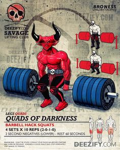 leg exercise: barbell hack squats - darkness