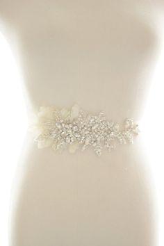 Sapphire Diamante Chain Rhinestone Beaded Applique Bridal Costume Ribbon 50 cm