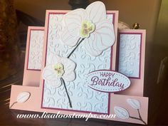 Climbing Orchid by Stampin' Up! Center step card.