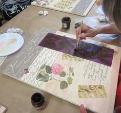 Cuadro vintage con decoupage,estarcido y texturas.. Haremos un cuadro vintage, utilizando diferentes pinturas, papeles, plantillas ... - Uolala