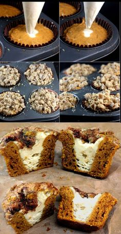 Pumpkin Muffins loaded with Creamy Cheesecake Filling and Chocolate Toffee Streusel.