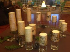 Wood-Inspired Candles for Rustic Bat Mitzvah Candle Lighting Ceremony by Flower Power Designs - mazelmoments.com