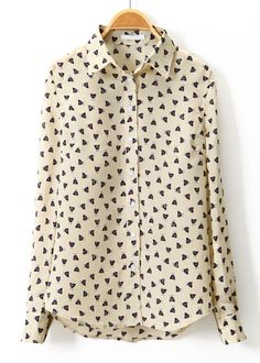 Beige Lapel Long Sleeve Chicken Print Blouse - Sheinside.com