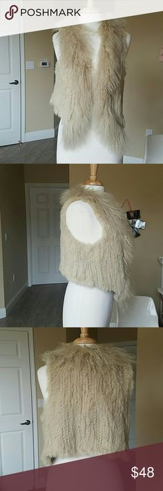 Covering knitted rabbit and Mongolian sheep vest Exception condition, real fur. Covering Jackets & Coats Vests