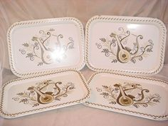 Vtg MAXEY Serving Tray Harp Lute Lyre White Metal 10 by 14 inch LOT of 4 Seller florasgarden on ebay