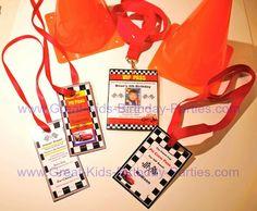 Disney Cars Birthday Party VIP lanyard passes