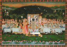 Lord Krishna Sandhya Aarti painting by Rajendra Khanna | ArtZolo.com