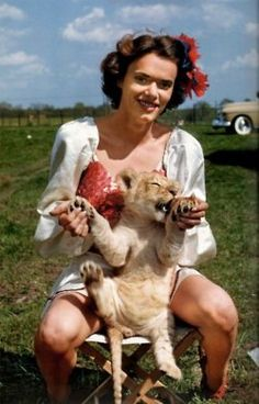 circus performer with a lion cub c.1940s
