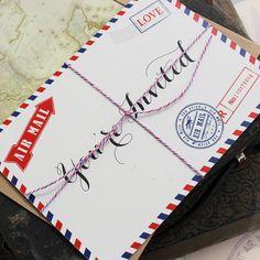 Vintage Travel Postcard Wedding Invitation Air by beyonddesign