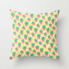 Pink Strawberries Throw Pillow by Bouffants and Broken Hearts - $20.00