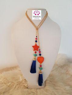 Tassel Necklace #handmade #etsyshop #bijoux #heart #tar #lariat #chain #bohemian #orangenecklace