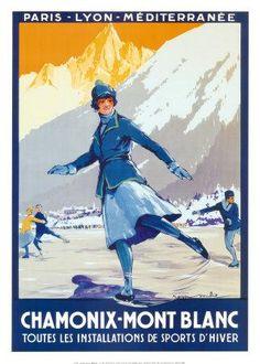 Chamonix - Mont-Blanc vintage travel poster ~ 'Toutes les installations de sports d'hiver'