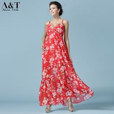 Women Sexy Deep V Neck Spaghetti Strap Summer Beach Maxi Long Sundress Red Floral Printed Full Length Holiday Dresses QCD155 >>> You can get additional details at the image link.