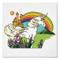 unicorn rainbow castle scene poster by doonidesigns