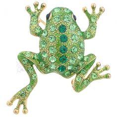 95494291c Green Frog Swarovski Crystal Animal Pin Brooch Animal Earrings, Animal  Jewelry, Pet Frogs,