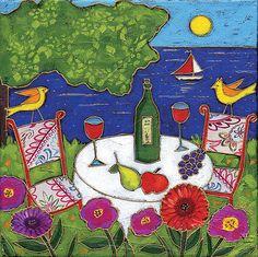 Peinture originale  Santé au bord du Lac  8x8 par IsamaloArtiste