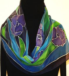 CHIFFON: Silk Scarf Hand Painted Chiffon Silk Shawl by SilkScarvesColorado 11 x 60 53.00