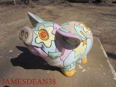 LARGE PSYCHEDELIC POP ART CERAMIC PIGGY BANK HIPPY FLOWER POWER