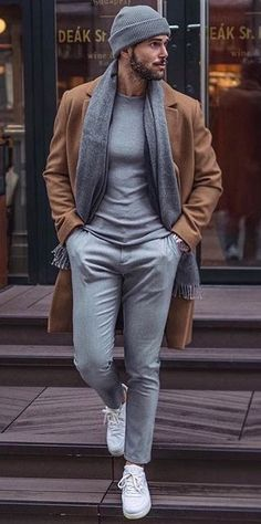 Men's Overcoat: How to Buy & How to Style A Winter Overcoat 60 Best Ways to Style an Overcoat This Winter. Camel overcoat, grey t-shirt, suit pants, scarf, beanie hat Click image to view more. Mens Overcoat, Winter Overcoat, Grey Overcoat, Winter Coats, Mode Masculine, Mode Outfits, Fashion Outfits, Fashion Ideas, Fashion Styles