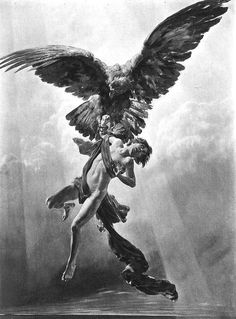 Items similar to Eagle Carries Boy To Greek Gods-Mount Antique Vintage Art-Ganymede-Gothic-Homer's Iliad-Naked Young Man-Mythology-Nude-Jupiter on Etsy Art And Illustration, Fantasy Kunst, Fantasy Art, Art Gay, Renaissance Kunst, Arte Obscura, Art Vintage, Arte Horror, Classical Art