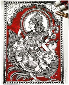 Prayers to Goddess Saraswathi to shine forth the light of true knowledge in our hearts and lives and lead us on the path of pure vibrations… Kalamkari Painting, Madhubani Painting, Indian Folk Art, Indian Artist, Krishna, Madhubani Art, Indian Art Paintings, Art N Craft, Zen Art