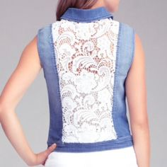 "Bebe Blue Lace Back Denim Vest Chic up your off-duty style with a heavy dose of boho-luxe in this bebe denim vest, featuring sheer lace panel at back. Try yours over anything from maxi dresses to skinny jeans. 54% cotton, 44% lyocell, 2% spandex. Center back to hem: 21"" (53 cm). Machine wash according to care label. Made in usa. Sizes m -L bebe Jeans"