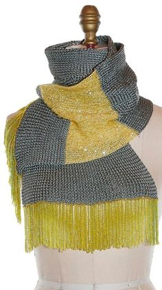 The Silk Beaded Scarf by Norma Ishak - Yellow/Gray ($228)