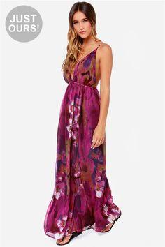 LULUS Exclusive Titania's Woods Backless Purple Print Maxi Dress at LuLus.com!